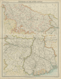 British India. Lower Ganges. United Provinces Bihar Bengal. TIMES 1922 old map